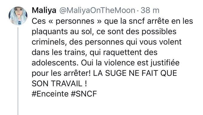 Tweet avec les hashtag #enceinte #sncf
